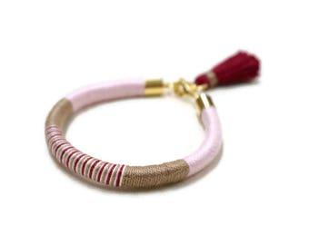 Multicolor Bracelet, Simple Bracelet Gift, Pink Summer Bracelet, Wife Boho Bracelet, Thread Bracelet, Rope Bracelet, Colorful Jewelry Gift
