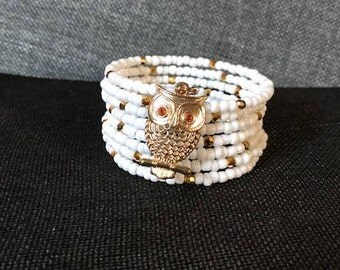 Owl White and Gold Seed Bead Bracelet