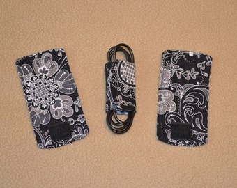 Black floral cord wrap organizers for chargers & other electronic cords