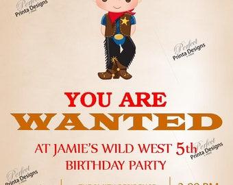 Cowboy, Wild West, Western, Wanted Birthday Invitation