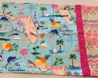 Sunshine State / Florida - Travel Size 100% Cotton Pillowcase - Free Shipping