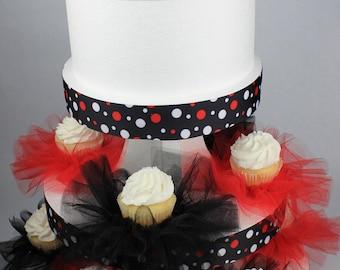 Cupcake Tutu:  12 Black and Red Elastic Beverage or Cupcake Tutus