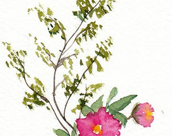 Original Floral Watercolor Painting,Watercolor Flowers,ACEO Original,Flowers in Vase,Ikebana,floral art,Small Floral Art,Free Shiping