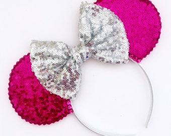 The Full Sequin (Pink) - Handmade Sequin Mouse Ears Headband CHOOSE YOUR BOW