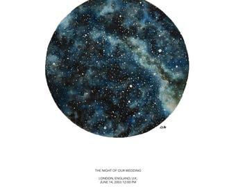 CUSTOM STAR CHART, Small Watercolor Original Fine Art Star Map Painting, Personalized, Night Sky, Stars, Wedding, Anniversary, Birthday,Gift