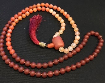 Carnelian Flame Mala with Red Agate Guru Bead/108 Beads/Vitality