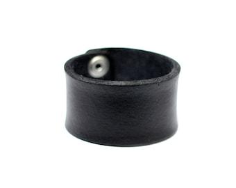 Artisan Handmade Accessory | Minimalist Plain Black Vegan Friendly Leather Silver Snapper Cuff Bracelet