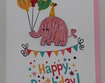 Happy Birthday Wishes: Handmade Quilled Cards- Cake, birds, cats, elephant, cupcake, teddy bear, clown