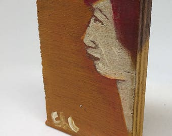 Small painting on wood, decorative gift - profile on yellow background