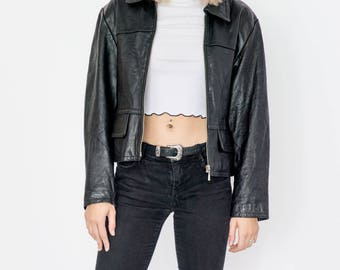 90s Cropped Leather Jacket