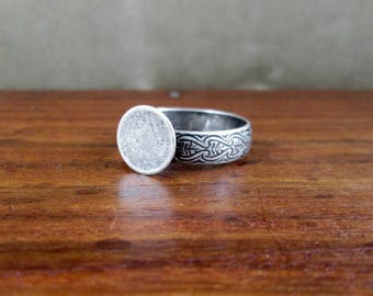Sterling Silver Scroll Work Ring with Blank – Vintage