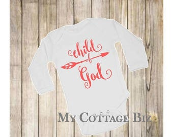 Child of God with Arrow T-Shirt, Available in Bodysuit or SS TShirt, Choose your own Color
