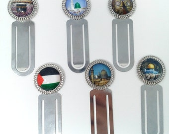 Set of 2 metal islamic bookmarks with picture of Mecca Medina Al-Aqsa Ka'bah door Quran umrah wedding, nikah, islamic gift hajj islamic home