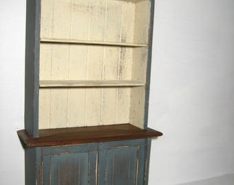Dollhouse Miniature Handmade Wood Country Cupboard Distressed 1:12 Scale
