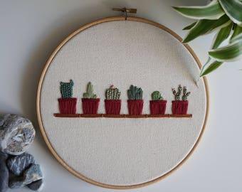 cactus shelf embroidery