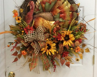 Thanksgiving wreath, Wreath for fall, Wreath with Turkey, Sunflower fall wreath, fall door wreath, Turkey door wreath, autumn door wreath