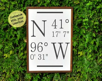 Coordinate Signs | Casual Farmhouse | Woodland | Cottage Home Style | Latitude Longitude | Shabby Chic | Wood Sign |  Hostess Gift New Home