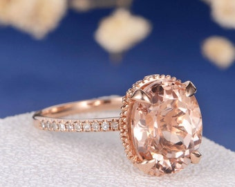 Art Deco Engagement Ring Morganite Rose Gold Wedding Antique Women Oval Cut Diamond Eternity Band Anniversary Gifts Floral Flower Filigree