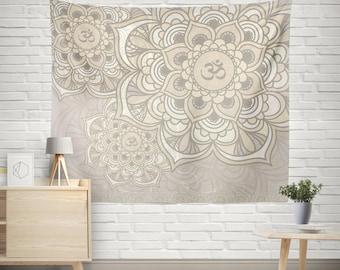 Sacred Om Tapestry,Mandala wall hanging,Wall decor tapestry,Bohemian tapestry,Boho Tapestry,Ethnic Mandala,Beige Tapestry