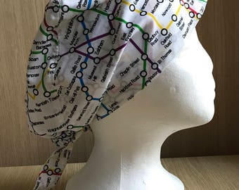 Surgical Theatre Scrub Hat/Cap One Size, Elasticated, London Tube Map, London Stations