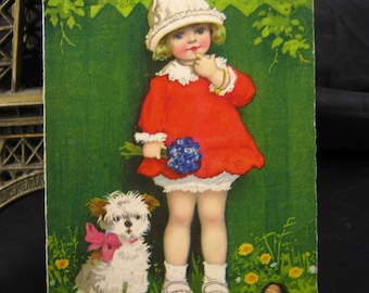 X 1 Antique postcard 1930s - Child Girl - Dog - Doll - artist signed card - vintage ephemera