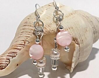 Silver drop earrings: vintage beads, silver earrings, boho style, pearl earrings, bridal earrings, soft pink earrings, bridesmaid earrings