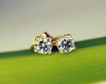 Petite Salt and Pepper Diamond Stud Earrings Vintage 14k Gold