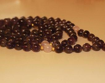 Amethyst Beaded Necklace|Mala Necklace|boho Jewelry|Mala beads|Long|Gemstone|Prayer Beads|Tassel|bohemian|birthstone mala|Crystal Necklace