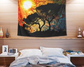 African Sun Tapestry-  Cool Sunset Landscpae Tapestry- Sunset Design- Warm Colors Tapestries- Sunrise Inspired Art- Home Decor- Crisp Image