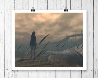 8x10, printable art, figurative art print, woman standing, field, modern art, figurative painting, figurative artwork, digital download