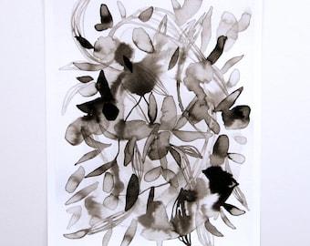 Botanic Blots Abstract Art Print Black and White Ink Painting