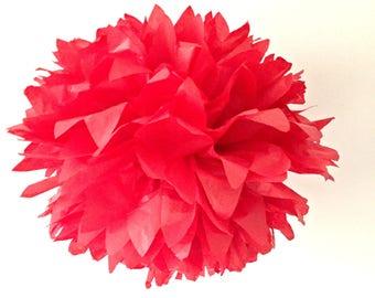 ruby red / tissue paper pom pom / diy / wedding decor / nursery / yellow pom pom flower