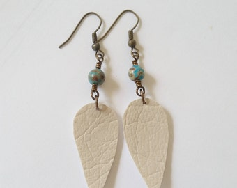 Leather & Jasper Boho Earrings