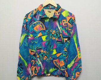 Awesome!!Full Print Neon Abstract Windbreaker Light Jacket Size Adult M