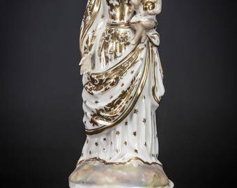 Virgin Mary with Child Jesus Statue | Madonna with Baby Christ Figure | Antique Vieux / Old Paris Porcelain Figurine