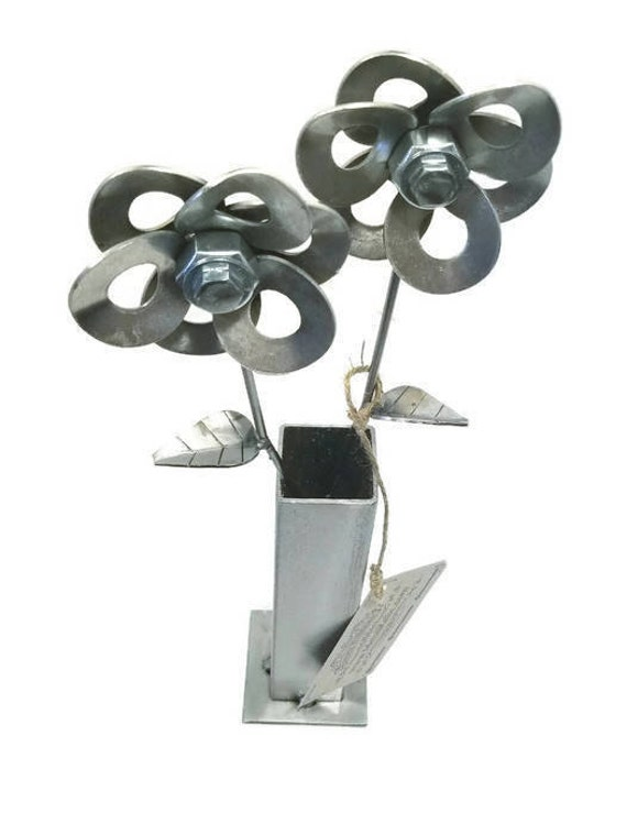 Two Metal Steel Flowers created by Welding Recycled Washers and Fasteners Steampunk Style making Unique Gifts and Modern Rustic Home Decor!