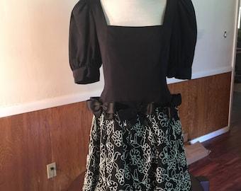 Black & White Vintage 1980's Party Dress