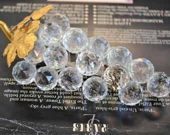 "Swarovski Grapes.Crystal bunch of grapes.23 Crystal grapes.Rhodium stem.Original Swarovski.""Sparkling Fruit"".Gift for collector.From80's."