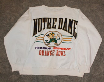 Vintage 90s 80s University of Notre Dame UND Fighting Irish Football Orange Bowl Mens Size Large or Oversized Womens Crewneck Sweatshirt