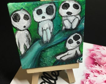Kodama Tree Spirits Mini Painting