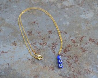 Triple Evil Eye Bead Necklace in Dark Blue - Intelligence