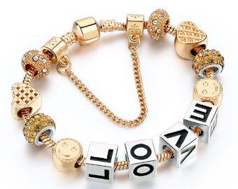 "PANDORA INSPIRED 18K Gold Plated ""Love"" Charm Bracelet"