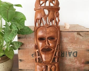 Vintage Wood Tribal Mask - hand carved wall art - Bohemian Boho Eclectic Jungalow - Decor Style Home - African elephant - face #056