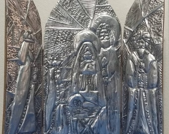 Metal Embossed Tryptic Nativity Scene Christmas