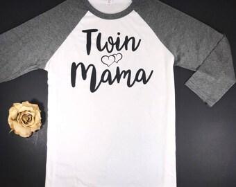 Twin Mama Baseball Tee....Raglan Unisex Tee, Twin Mom, Twin Mama Shirt, Mom of Twins Shirt, Gift for Mom of Twins