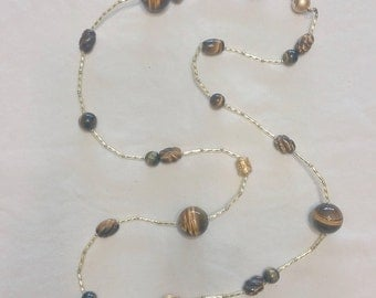 Varied Tiger's Eye Beads with Brass Tube and Accent Beads