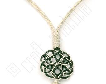 Handmade Pure Silver Statement Necklace with Celtic Sun Knot and White Silver Prayer Beads Kazaz Art  (Kazaziye)