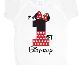 Minnie Mouse 1st Birthday Onsie Onesie Red - Minnie Mouse First Birthday Onsie Onesie - Minnie Birthday Shirt Any Age
