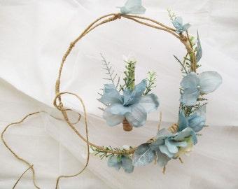 Boho woodland hair wreath,  Dusty blue bridal wreath, Floral circlet, flower crown, Woodland wedding head piece, Rustic wreath