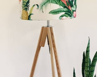 Parrot lampshade with tropical leaves in white made in Australia